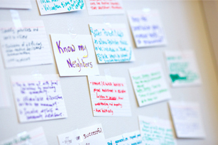 Photo of post it notes with ideas